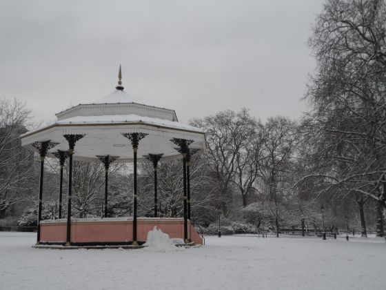 Snow covered bandstand