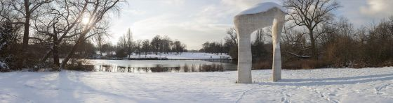 Snow covered Henry Moore Arch panorama